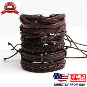 6 Pcs Set Coffee Braided Leather Unisex Men Women Cuff Wristband Bracelet
