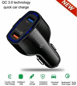 3-Port USB Car Charger Adapter QC 3.0 Fast Charging For iPhone Samsung HTC LG