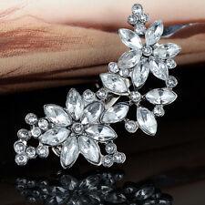 Rhinestone Hair Clip Silver Flower Crystal Barrette Diamante Bridal Wedding Prom