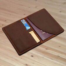 Men Genuine Leather Travel Wallet Bifold Ticket Card passport Case Holder Folder