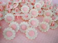 40 White/Pink Daisy Flower Kids Plastic Sewing Button/trim/notion/baby Sb70-Pink