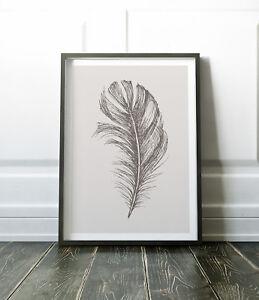 Wall Art Print, Grey Print, Feather Print, Art, Feather Wall Art, Grey Wall Art
