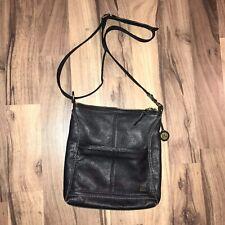 The Sak Lucia Shoulder Crossbody Bag Black Pebbled Leather Handbag Purse Zipper
