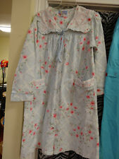 MOON DANCE Duster Robe Ladies Womens Ligh blue with Flowers Size Medium