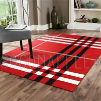 Eleusis Geometric Tartan Red Ivory Modern Floor Rug - 5 Sizes **FREE DELIVERY**