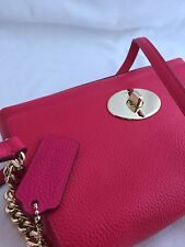 NWT Authentic Coach Light Fuchsia Leather Crossbody With Gold Chain Accent