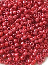 6/0 Japanese seed beads Opaque Dark  Red Luster round seed beads