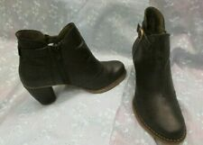 Women's EL NATURALISTA Black Leather Ankle Boots Size 39