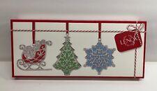 f45289993d645 Lenox Merry   Bright Set of 3 Clear Gem Ornament Sleigh Christmas Tree  Snowflake