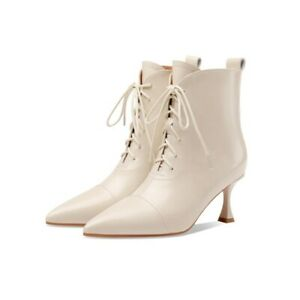 Women Custom Fall Ankle Boot Lace Up Pointy Toe Side Zip Europe Dress Shoes Soft