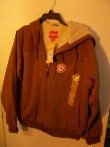 NWT Mens Medium Brown Coleman Sherpa Lined Full Zip Hoodie New $110