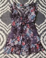 Womens Juniors Floral Top Blouse Size Small