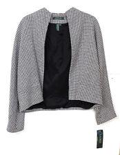 NWT Ralph Lauren Women's Size 12 White & Black Linen Houndstooth Wrap Blazer MS