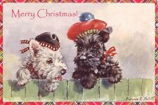 West Highland Terrier & Scottie F. Valter 30's New LARGE Blank XMAS Note Cards