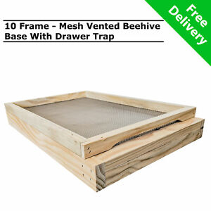 10 Frame Beehive Base With Mesh Ventilated Bee Hive Bottom Board & Drawer Trap
