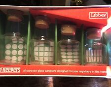 Set 4 Vtg Libbey Glass Kitchen Storage Canisters Clear Cylinders Cork Tops Jars