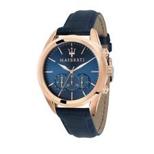 MASERATI R8871612015 Traguardo Rose Gold, Blue Dial, Blue Leather, Chronograph