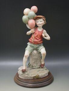 """GIUSEPPE ARMANI florence CAPODIMONTE BOY WITH BALLOONS FIGURE VINTAGE 11.5"""""""
