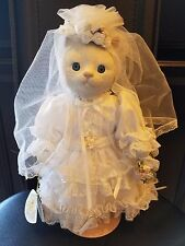 VICTORIA ASHLEA  BY GEOBEL   PORCELAIN CAT BRIDE DOLL BETTE  BALL with stand