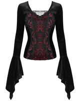 Dark In Love Womens Gothic Top Black Red Damask Velvet Steampunk Victorian Witch