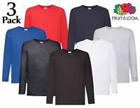 3 x Fruit Of The Loom Children's Valueweight Long Sleeve T-Shirt Unisex Kids Top
