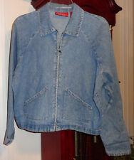 S Ladies Womens Limited Jeans Denim Blue Jean Jacket Top Blazer Zipper Vintage