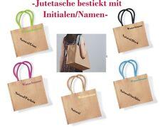 Jutetasche BESTICKT mit Namen Tasche Einkaufstasche Shopper sehr robust