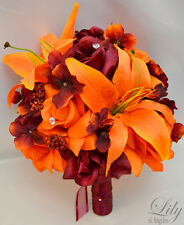 17 pcs Wedding Bridal Bouquet Silk Flower Package ORANGE BURGUNDY MAROON
