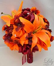 17 pcs Wedding Bridal Bouquet Silk Flower Package ORANGE BURGUNDY MAROON