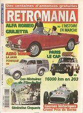 RETROMANIA 86 JAWA AERO MINOR ALGA ROMEO GIULIETTA RENAULT JUVAQUATRE PEUGEO 203