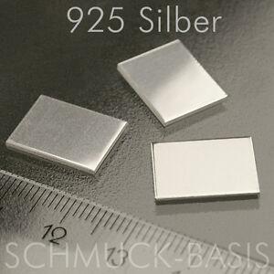 3 Stück Silberblech echt 0,4 mm, 925er Silber Sterlingsilber 15 x 11 mm
