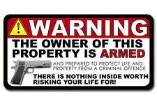 "GUN Owner Home Security Warning 2nd Amendment Vinyl Decal Window 6"" Sticker 2 PK"