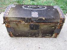 Rare Antique Small Travel Trunk Deer Skin/Wood Ebenezer Tirrell, Jr. 19th c.