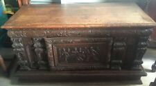 Handsome Antique Heavily Carved European Chest 16th - 17th Century!!