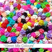 100 Pcs 10mm Mixed Colour Resin Flatback Flower Rose Cabochons Decoden Crafts