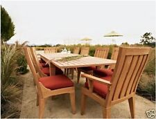 "Caranas Grade-A Teak 11 pc Dining 122"" Rectangle Table 10 Chairs Set Outdoor New"