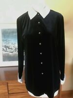 Vtg 80s Black Velvet White Satin Collar & Cuffs Sweet Goth Blouse S-M