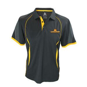 Kubota Branded Mens Black/Yellow Land Pride Polyester Sports Interlock Polo