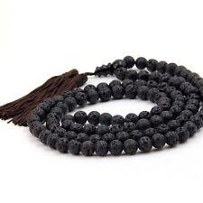 108 Black Volcano Stone Tibet Buddhist Prayer Beads Mala Necklace--8mm