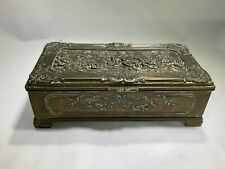 Antique Jennings Brothers High Relief Figural Brass Lined Box/Casket
