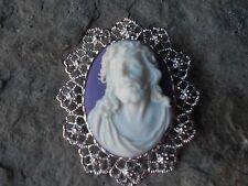 SILVER2 IN 1 JESUS CAMEO BROOCH/PIN/PENDANT- XMAS, HOLIDAY, LORD, RELIGIOUS