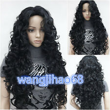 Sexy Women's Long Black Wavy Curly Natural Hair Full wigs + wig gift