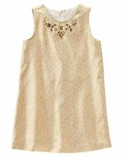 Gymboree Girl Holiday Gold Brocade Gem Dress 7 new