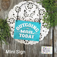 Outgoing Mail Today * Tiny Mini Sign * Little Wood Ornament USA New Postal Post