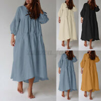 Womens Puff Sleeve Elastic Cuff Solid Cotton A-Line Tiered Flare Long Maxi Dress