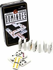 coloured double 6 dominoes in tin case