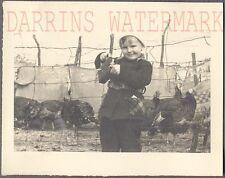 Vintage Photo Cute Girl w/ Camera & Turkey Birds 701102