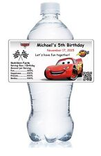 20 DISNEY CARS BIRTHDAY PARTY PERSONALIZED WATER BOTTLE LABELS WATERPROOF GLOSSY