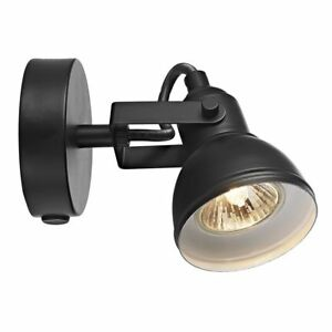 Unique Industrial Designed Matt Black Switched Wall Spot Light by Happy Homew...