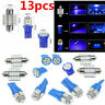 13x Blue LED Bulbs Car Interior T10 & 31mm Map Dome License Plate Light Lamp Kit